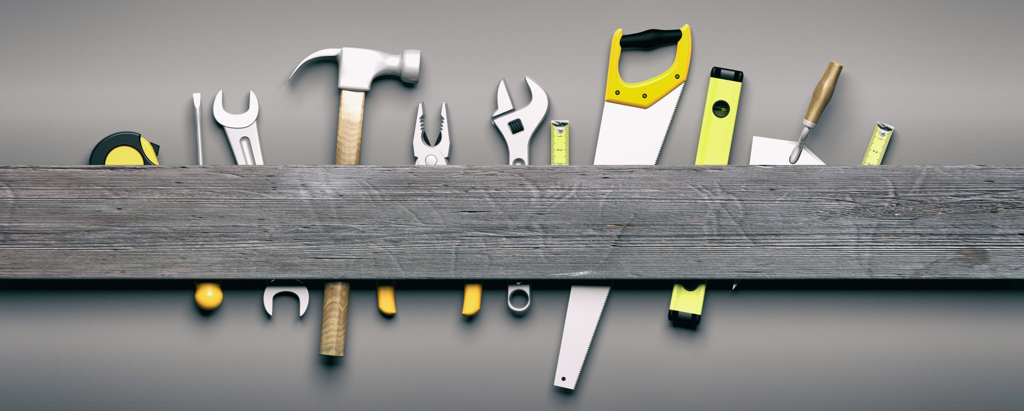 A Selection of Tools On A Shelf